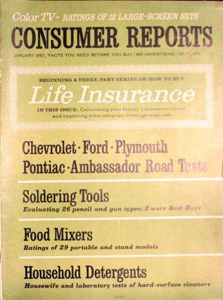 Vintage Consumer Reports Magazine January 1967