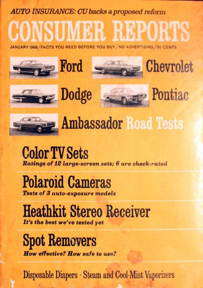 Vintage Consumer Reports Magazine January 1968