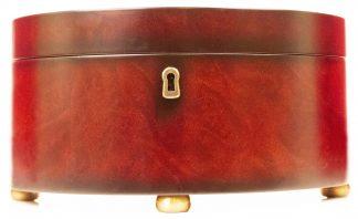Bombay Company Mahogany Veneer Half Round Wood Locking Jewelry Box, 2000, 6HKS, #082
