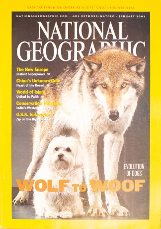 "National Geographic, January 2002, ""EVOLUTION OF DOGS WOLF TO WOOF"""