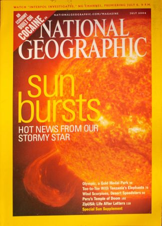 "National Geographic, July 2004, ""Sun Bursts Hot News from our Stormy Star"""
