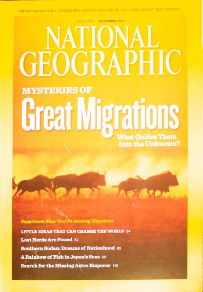 """National Geographic, November 2010, """"Mysteries of Great Migrations """""""