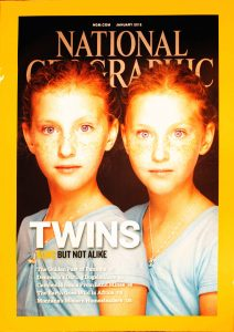 "National Geographic, January 2012, ""TWINS ALIKE BUT NOT ALIKE"""